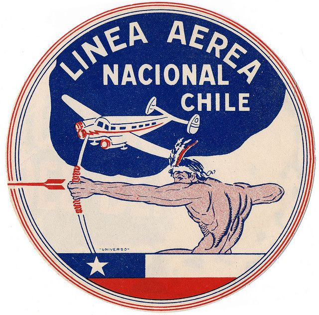 Linea Aerea Nacional Chile by Art of the Luggage Label, via Flickr