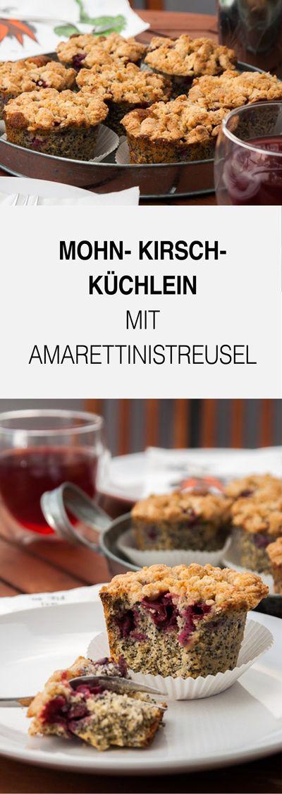 Eines meiner Lieblingsrezepte - Mohn- Kirsch- Küchlein mit Amarettinistreusel. Ein klasse Rezept für die Kaffeetafel oder als Nachtisch.