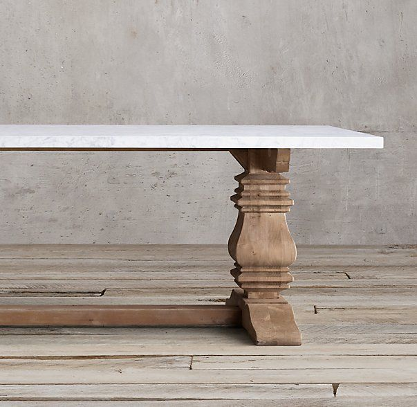 "Salvaged Wood & Marble Trestle Rectangular Dining Table 72"" + $2700 white or grey marble"