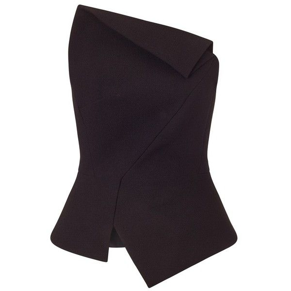 Roland Mouret Leonard Top found on Polyvore featuring polyvore, women's fashion, clothing, tops, blouses, black and roland mouret