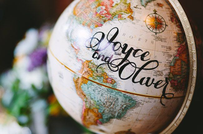 paint your names on your globe and use it as a guest book. Pew just need to find a globe!