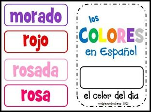 Spanish colors, days of the week and months of the year for the classroom.