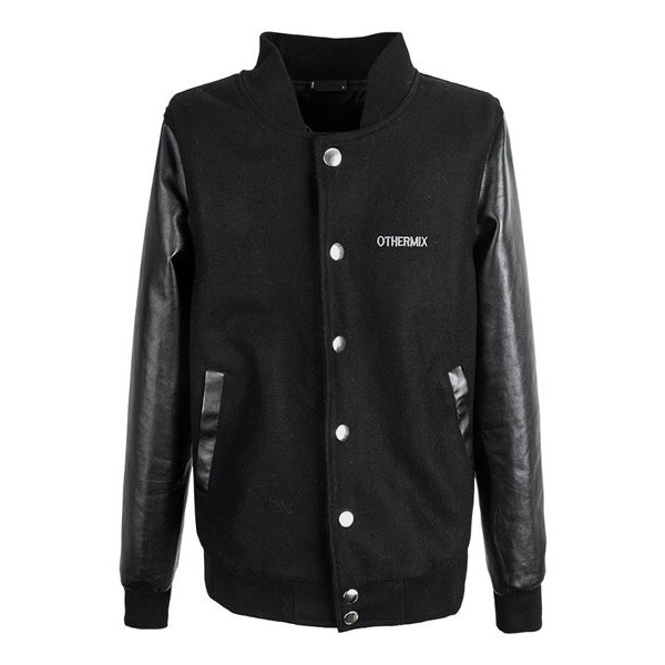 Black Baseball Jacket with Leather Sleeves ($185) ❤ liked on Polyvore