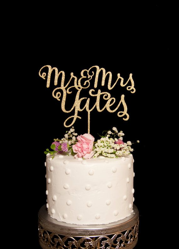 Custom Calligraphy Mr and Mrs Wedding Cake by HomePrint3DToppers
