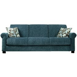 Comfortable and stylish, the transitional Rio Convert-a-Couch futon sofa features rolled arms and converts into a full size bed with the touch of a hand. The futon sofa is covered in a durable chenille fabric and works well in any decor.