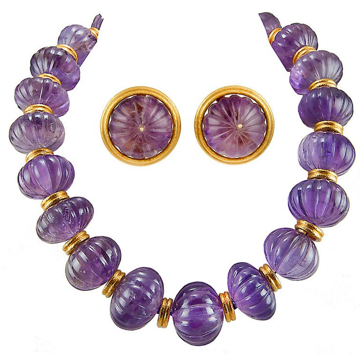 ZOLOTAS Carved Amethyst Necklace and Earrings | From a unique collection of vintage more necklaces at http://www.1stdibs.com/jewelry/necklaces/more-necklaces/