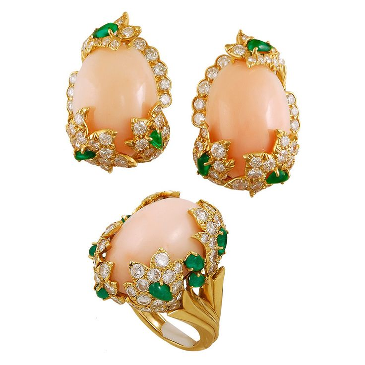David Webb Coral Emerald Diamond Gold Earrings and Ring | From a unique collection of vintage more earrings at https://www.1stdibs.com/jewelry/earrings/more-earrings/