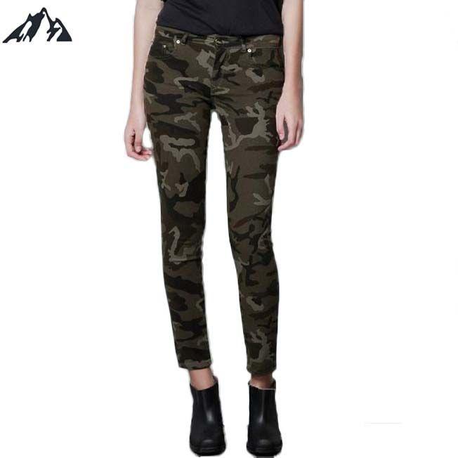Новое поступление годовой охотничий камуфляж тонкий упругие женские брюки женские армейские брюки-карго карандаш брюки военная форма женские брюки