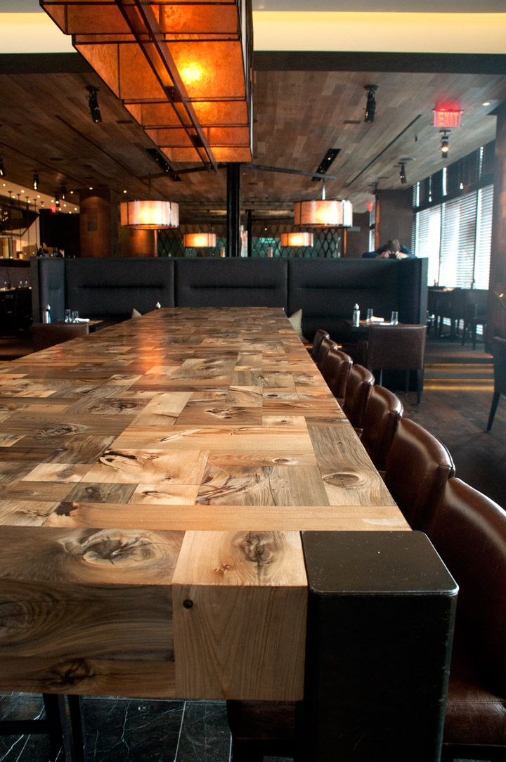 custom mosaic table for e11even restaurant in toronto by stacklab - Restaurant Dining Room Furniture