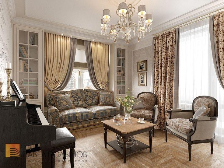 Фото гостиная с пианино из проекта «Интерьер квартиры в классическом стиле, ЖК «Новомосковский», 60 кв.м.»