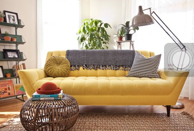 Yellow sofa. Living room.