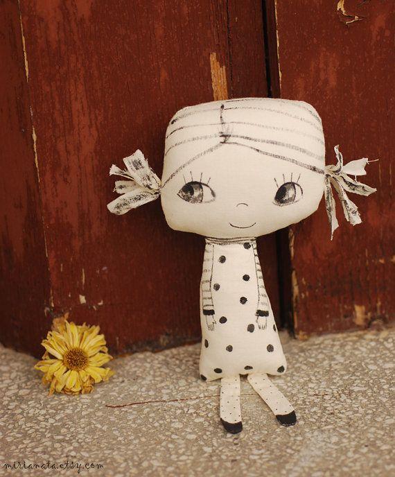 Painted fabric doll handmade doll soft doll by mirianata on Etsy