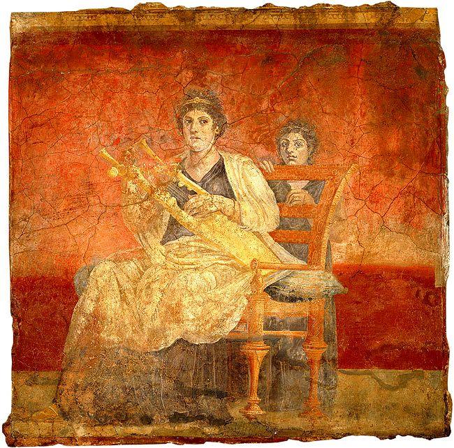 FRESCO ROMANO. Mujer romana con cítara. 40–30 d. C. Villa Boscoreale, Italia.