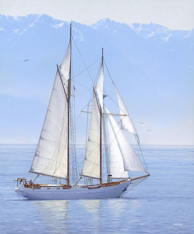 """Limited Edition Print - """"BECALMED"""" by Neil Hamelin. #seascape #sailing #sailboat #realism #art #painting #calm #ocean #sea #photorealism #marine #marineart"""