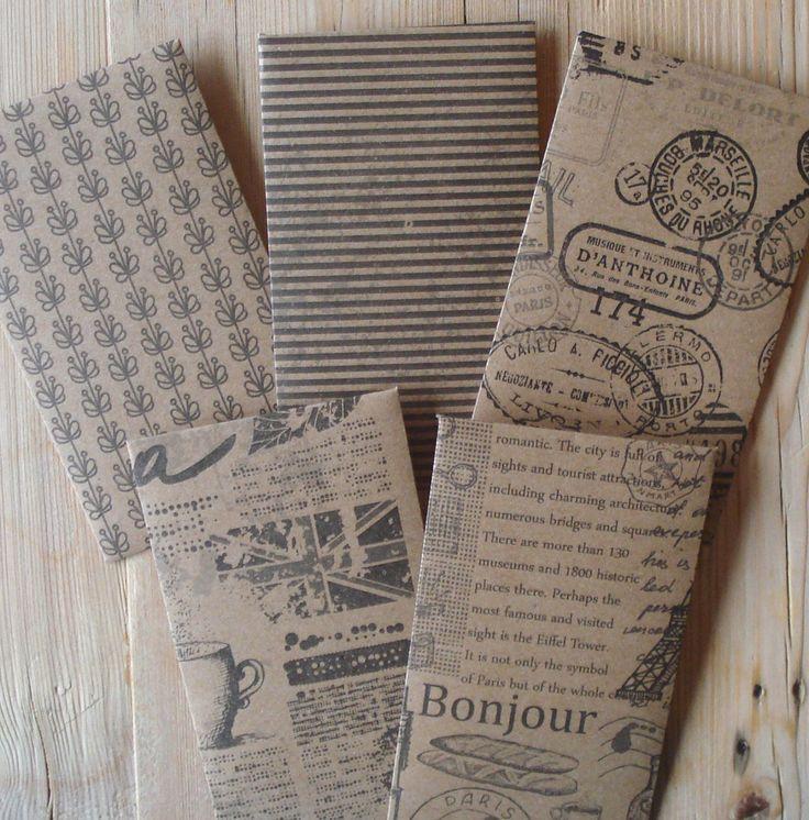 Cadeau envelopjes, set van 5, 10 x 6 cm, papier, handgemaakt, kraft papier, bruin (d) by LabelsAndMore on Etsy