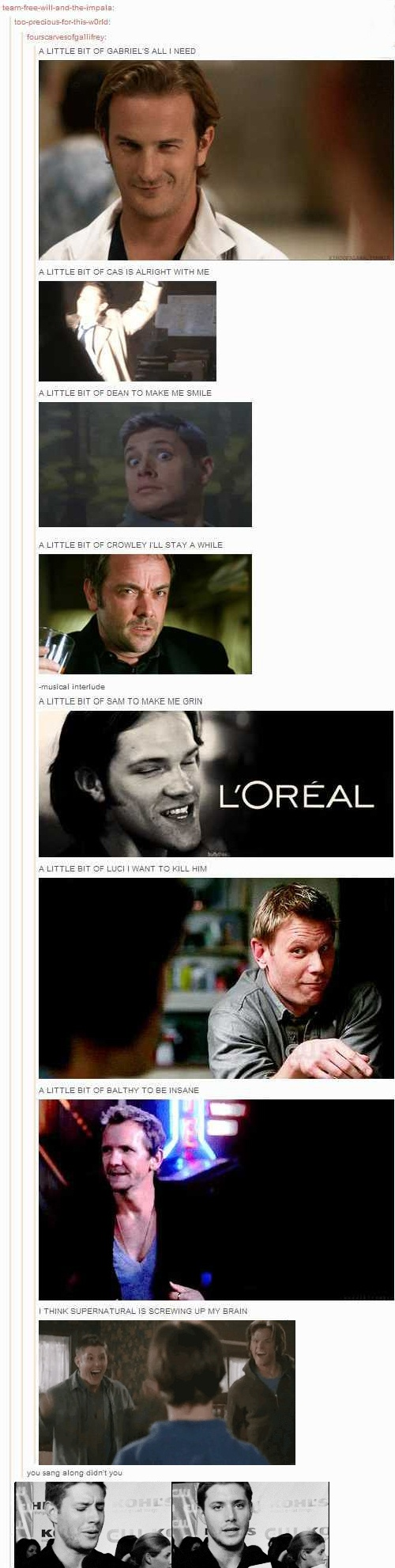 Hahaha! Supernatural (And yes, I did...)