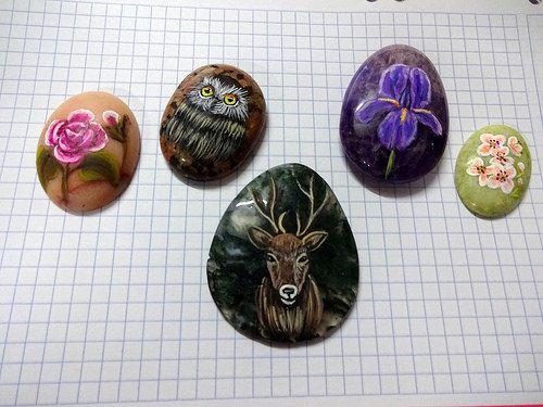 piedras pintadas - colgantes germas 4   por pedretaderiu
