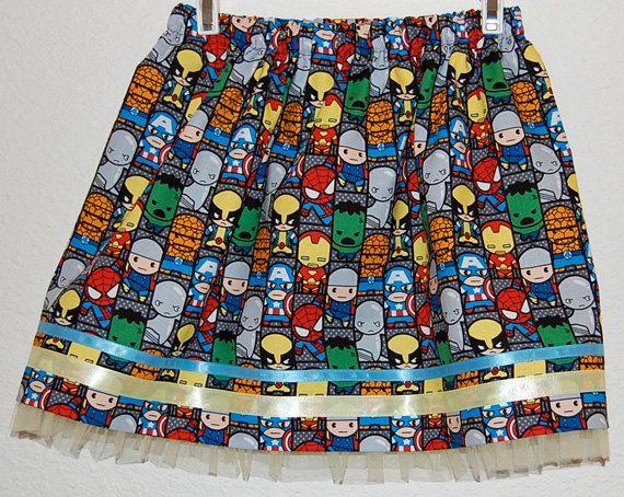 Marvel Superheros Kawaii print girl's skirt by DaleRaeDesigns