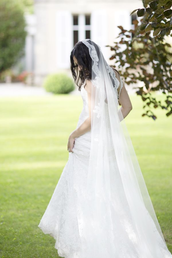 Louise Alvarez lace wedding gown and veil, www.louisealvarez.com.au Photography Lauren Michelle Weddings | Wedding: Michelle and James, Normandy, France