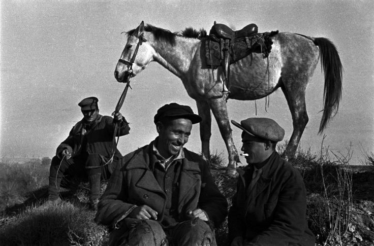 Shepherds having a smoke, 1938. Rural location, Azerbaidjan