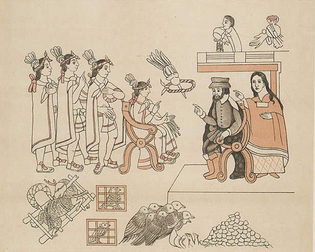 Hernán Cortés and his counsellor, the Indian woman La Malinche meet Moctezuma II in Tenochtitlan, 8 November 1519. Facsimile (c. 1890) of Lienzo de Tlaxcala.