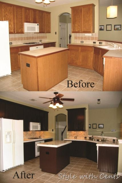 $750 total kitchen remodel sherwin williams turkish coffee bead board cabinets kitchen before after2