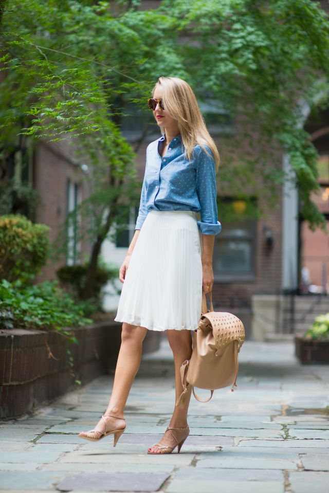 Casual rolled long sleeve button down shirt + pleated white knee length skirt + neutral kitten heels