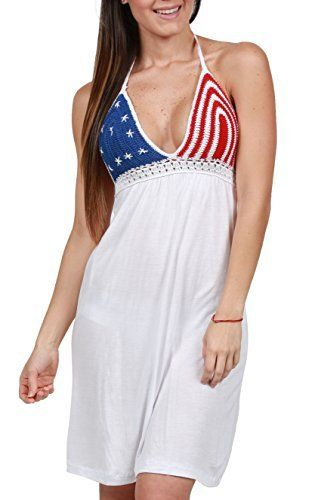 739ea02414 Ingear Women s American Flag Dress Crochet Backless Halter Summer patriotic  sundresses women   Get ready for this wonderful event and celebrate our ...