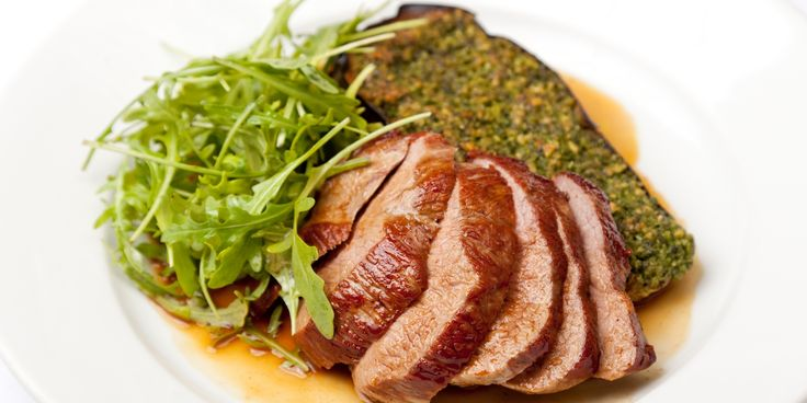 Bryan Webb's delicious lamb recipe serves lamb rumps marinated in herbs and garlic with fresh pine nut pesto and baked aubergines.