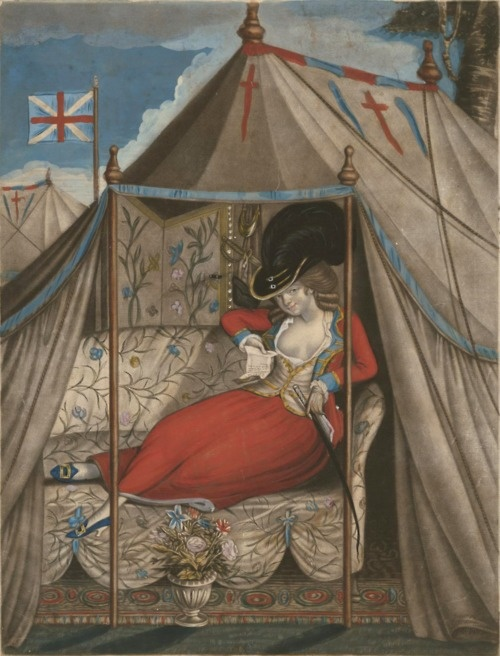 Military Man-Trap, 1788 … mezzotint caricature of woman with plumed hat, semi-military jacket and low décolletage, seated on sofa in tent; published in London by Robert Sayer