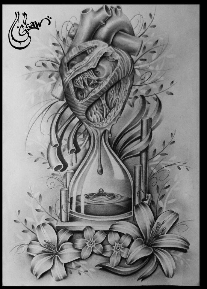 Ampulheta. Coração. Flores. Sangue. Preto e branco. Desenho. Arte.
