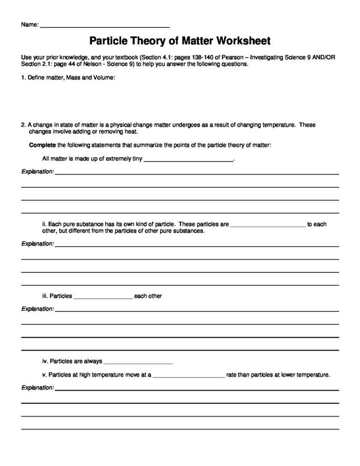 Printable Worksheets state of matter worksheets : 17 best Changes of State & The Particle Theory of Matter - SNC1D/P ...