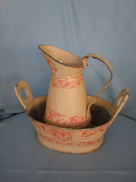 Antique Child's Pitcher and Bowl Scroll Decorated Red on Cream Great from tearoseantiques on Ruby Lane: