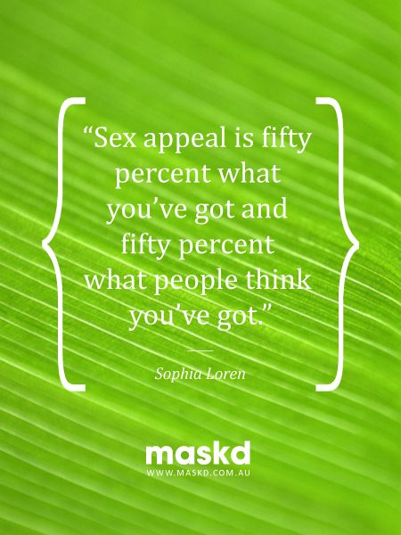 """""""Sex appeal is fifty percent what you've got and fifty percent what other people think you've got.""""  #loveyourskin #amazing #beautiful #selfie #smile #igers #wow #awesome #acne #beauty #quote #pinterest #pinterestquotes #quotes #thegreenmask #maskd"""