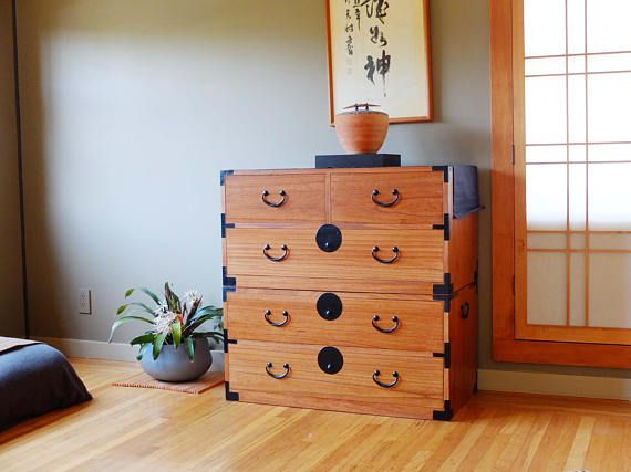 Japanese Style 2 Sections Clothing Chest Dresser Isho Dansu.