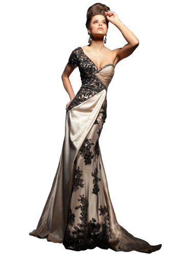 Embroidery One Shoulder Short Sleeve Plus Size Maxi Evening Dress JH-E7784 S (US 0) IBEAUTY DRESS