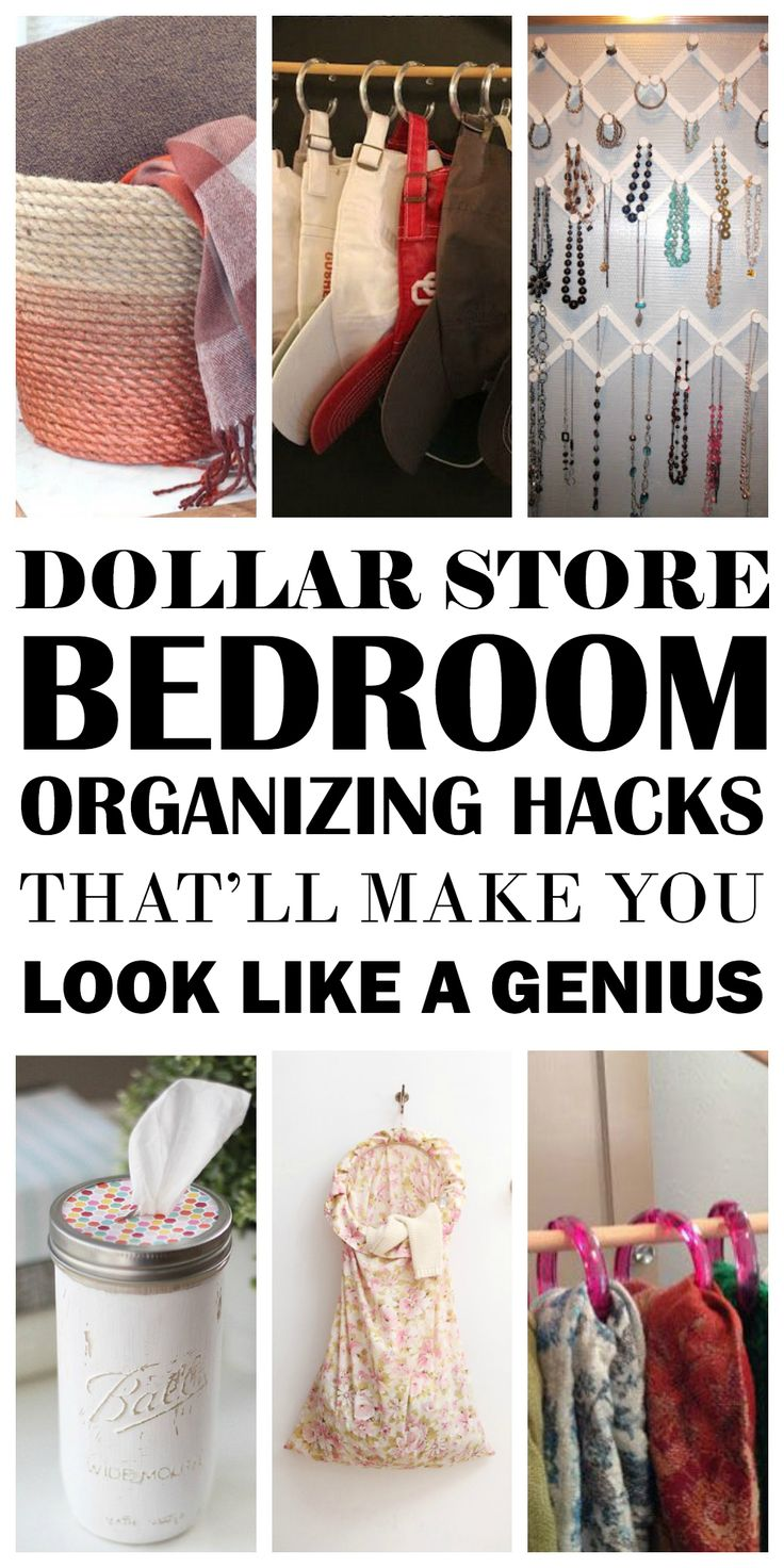 These are THE BEST Dollar Store Bedroom Organizing hacks I have found! Now I have some genius ways to keep my bedroom tidy and beautiful! Definitely worth pinning for later.