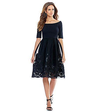 Gianni Bini Dana Off The Shoulder Embroidered Skirt Dress