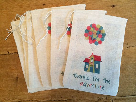 Up House Gift Party Favor Bags. Set of 6 - 4x6, or 5x7 Drawstring Birthday Thank you Gift Basket Bags