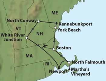 driving map of new england for fall colors | Tour Highlights - New England Fall Foliage