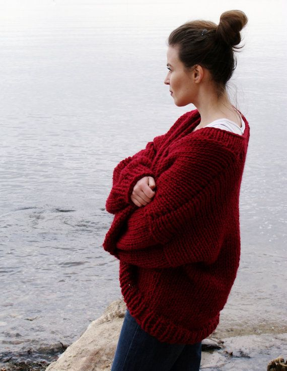 Pure Chunky Cardigan - Dark Red - handmade oversized cardigan, chunky knit, loose fit, open style sweater, big knits by Nudakillers