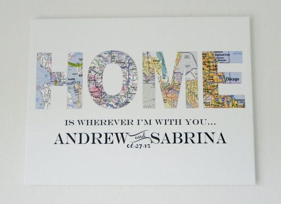 """Home is wherever I'm with you. This digital print is customized to """"heart"""" your special day. Choose up to four locations to feature on your personalized maps. Your design comes ready to hang and beaut"""