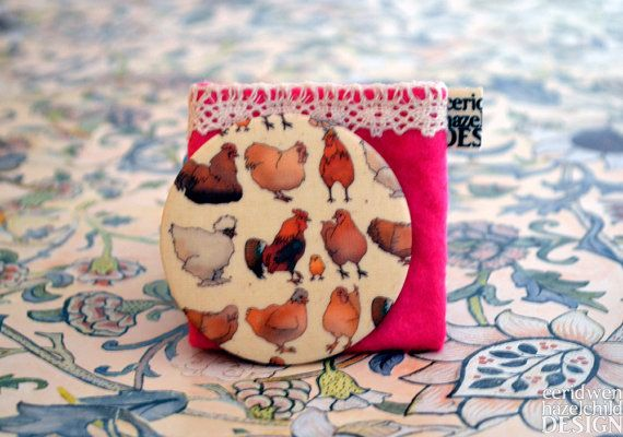 Chickens Fabric Pocket Mirror