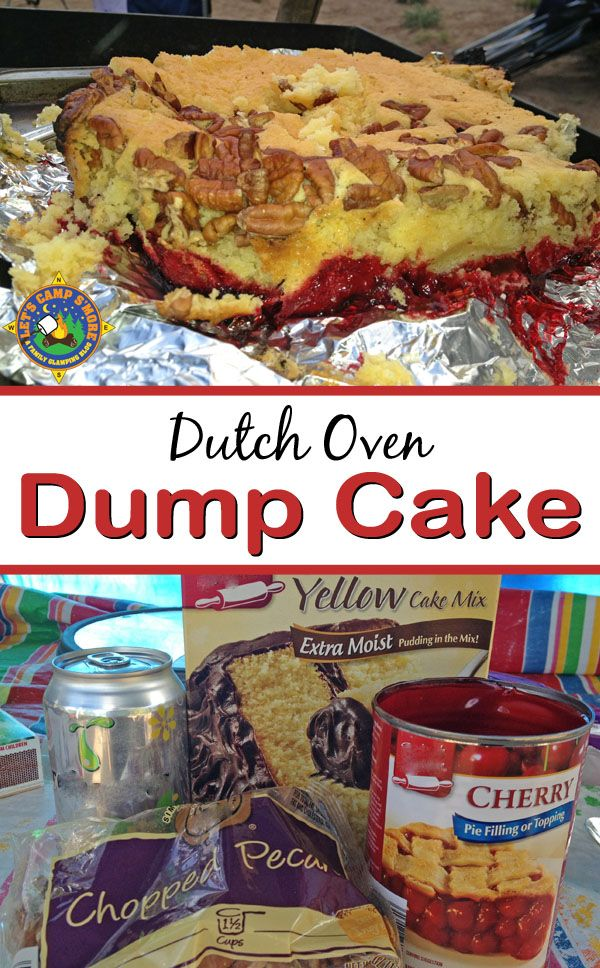 Camping Dump Cake Recipe made in a Dutch Oven - Looking for a camping dessert? Try this campfire spin on the classic Dump Cake recipe that is made in the dutch oven. It's much tastier than baked at home.