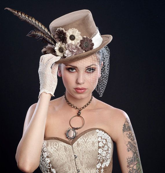 If i ever get married, forget the veil i want something like this but in white or cream!!!! Vanilla Mocha Chocolate Steampunk Vegan Suede Leather Top Hat