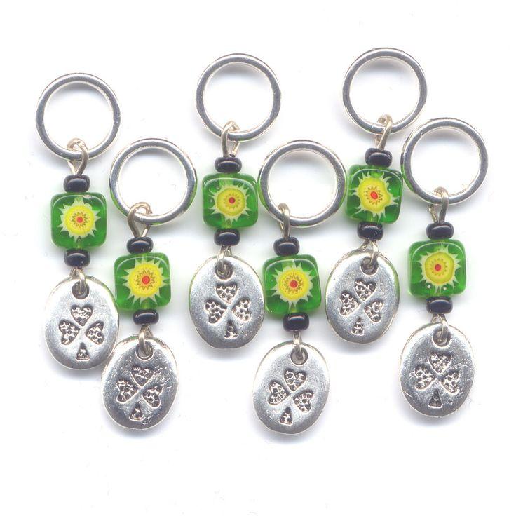 Irish Shamrock Knitting Stitch Markers Green Milefiori Flowers Set of 6 /SM25 from GloriaPatreSpinNKnit on Etsy Studio