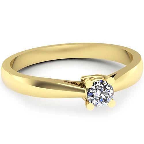 Inelul este realizat din aur galben 14k, greutate: ~1.90gr.                                    Produsul are in componenta sa: 1 x diamant, dimensiune: ~3.40mm, greutate: 0.15ct , culoare: G, claritate: VS2