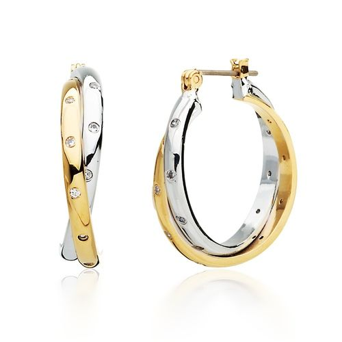 Twist Hoop Earrings with Studded Cubic Zirconia in Dual Tone