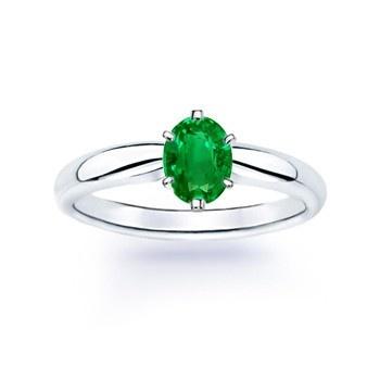 Angara Round Natural Emerald Curved Shank Ring in Platinum O7p6de1