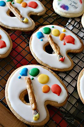 "From cutest little things! These cookies were made for her son's 4th Birthday Party, with the theme ""Little Picasso Art Party!"" Seriously cute ideas - wow! Ashton's 4th I think so!"